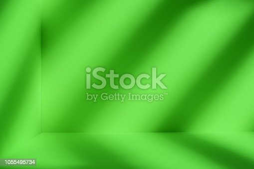 1062261710istockphoto Green room with artistic shadow 1055495734