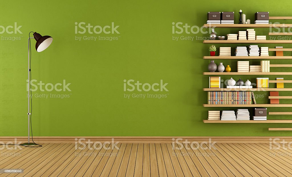 Green room with bookcase stock photo