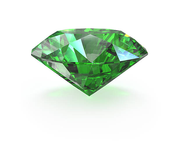 Green round cut emerald Green round cut emerald, isolated on white stone object stock pictures, royalty-free photos & images