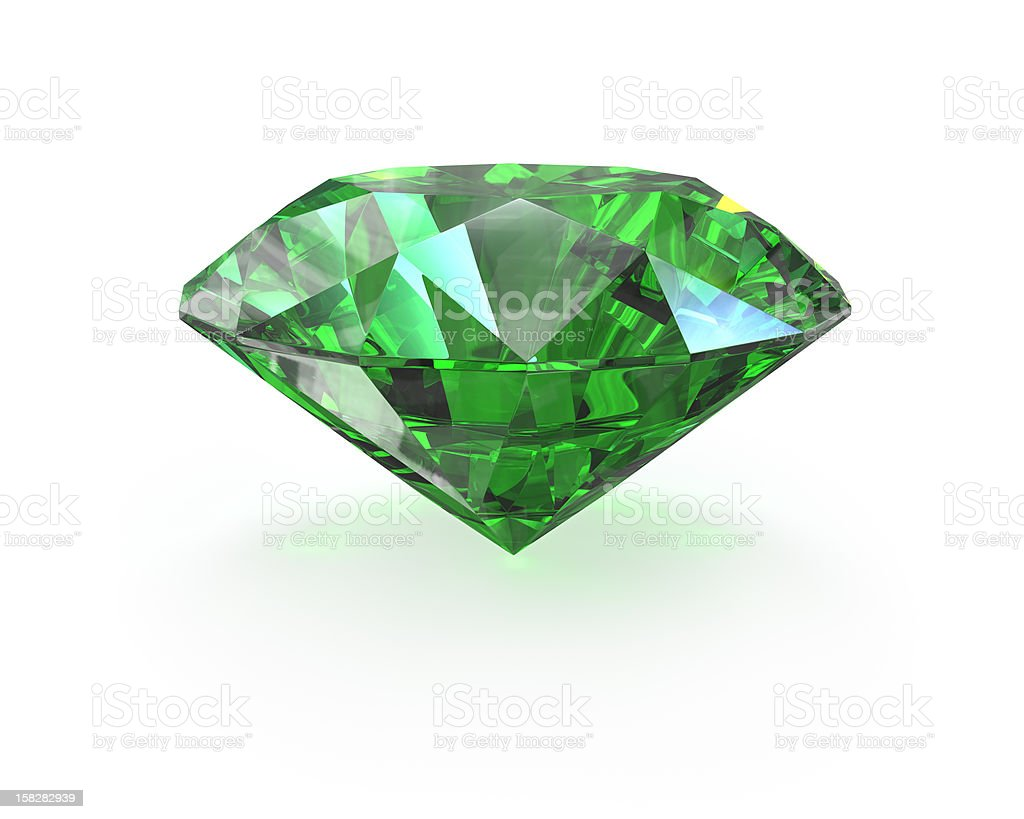 Green round cut emerald stock photo