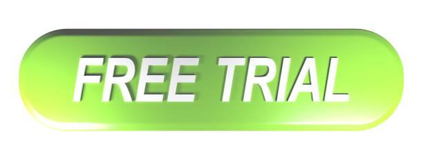 grün abgerundeten rechteck taster free trial - 3d-rendering - kostenlose webseite stock-fotos und bilder