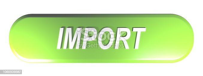 istock Green rounded rectangle push button IMPORT - 3D rendering 1065509382
