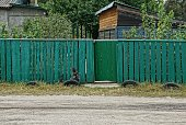 istock green rural wooden fence and a closed door on the street 1043747496