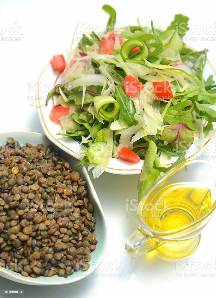 Green salad and brown lentils royalty-free stock photo