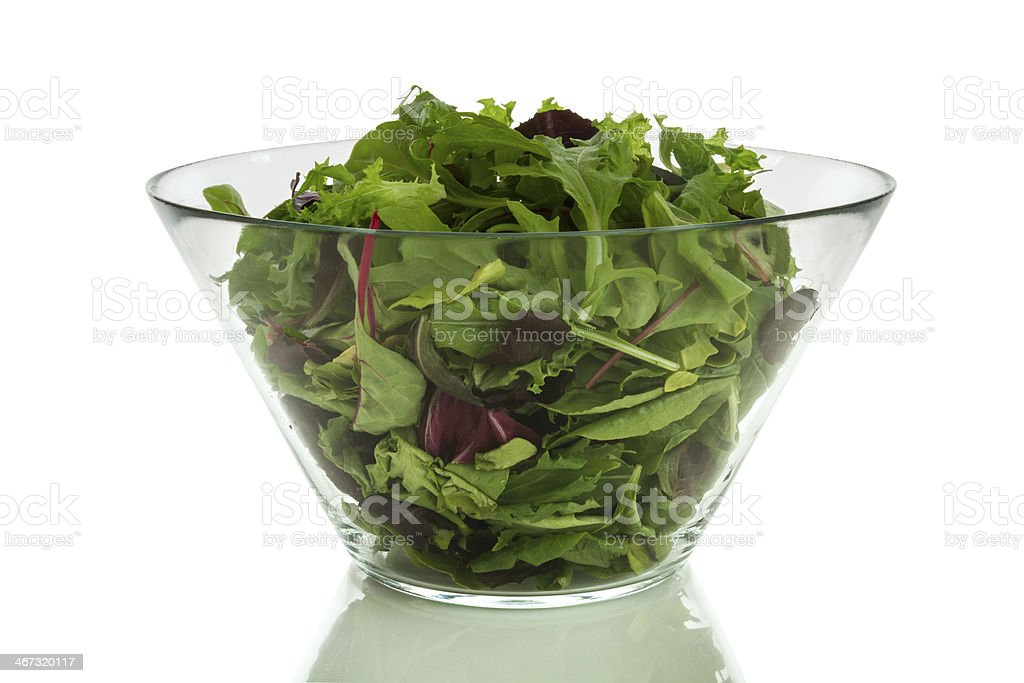 Green salad in a bowl stock photo