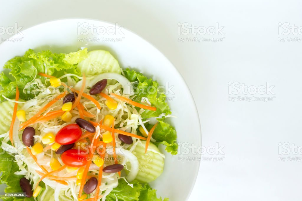 Green Salad Plate Fresh Vegetable Border On White Background Stock Photo Download Image Now