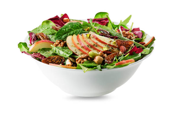 green salad with apple fruit and nuts - fig salad imagens e fotografias de stock