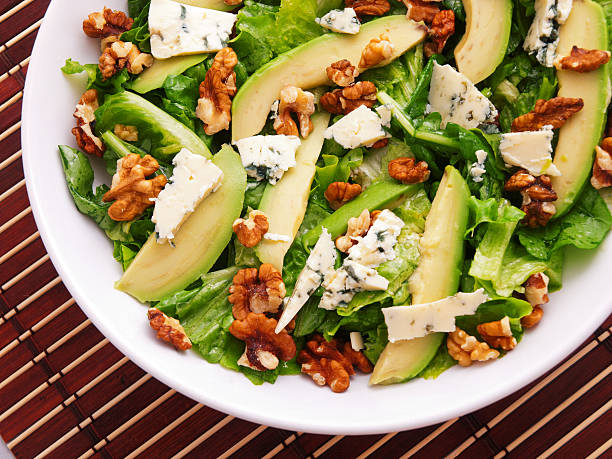 Green salad with cheese and pears – Foto