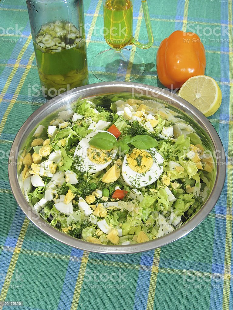 Green salad with eggs 2 royalty-free stock photo