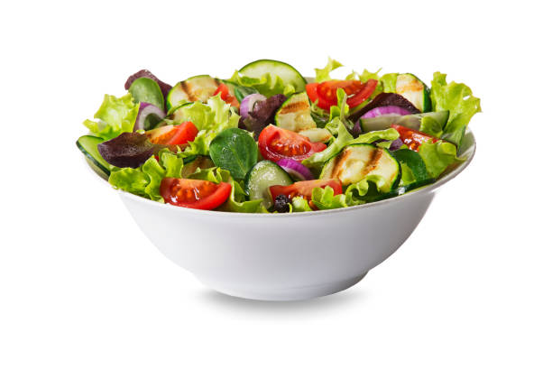 Green salad with fresh vegetables stock photo