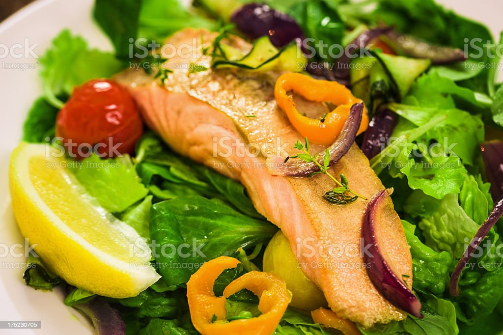 Green Salad with Salmon royalty-free stock photo