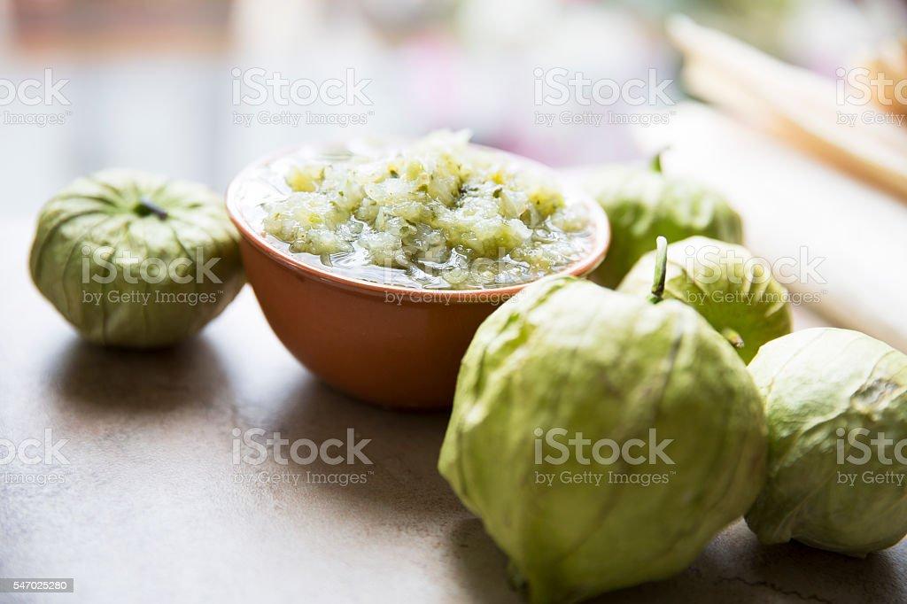 Green Salsa and Tomatillos stock photo