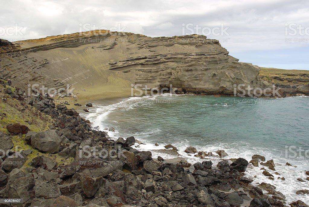 green sand beach big island royalty-free stock photo