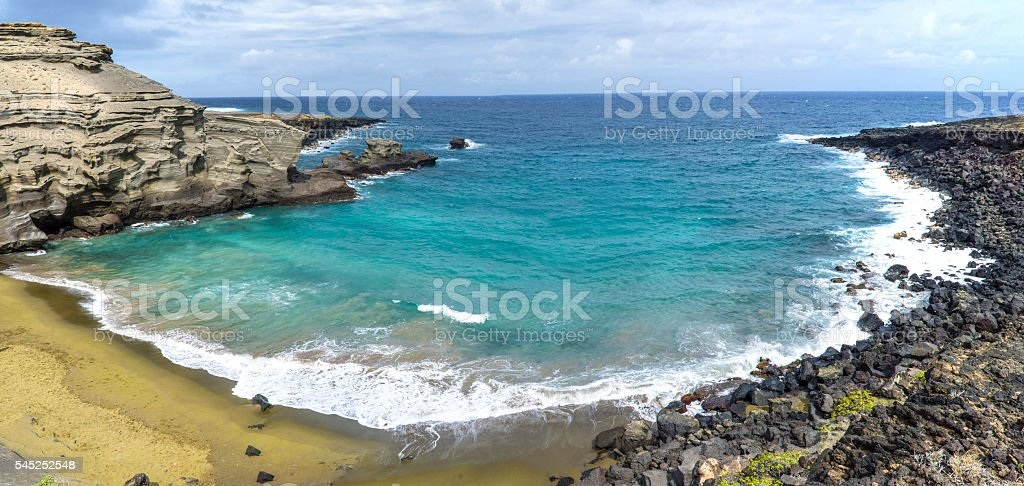 Green Sand Beach panorama stock photo