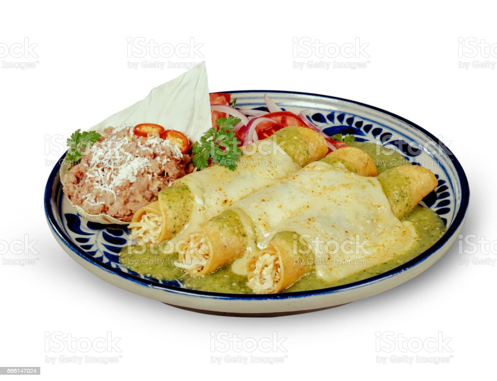 Green Sauce Enchiladas with clipping path stock photo