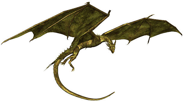 Green Scaled Dragon in Flight stock photo
