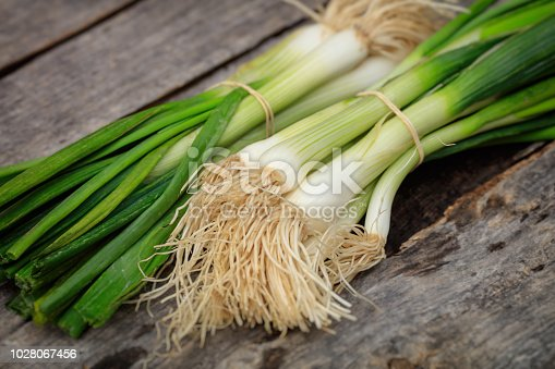 Green scallions heaps, on wooden surface