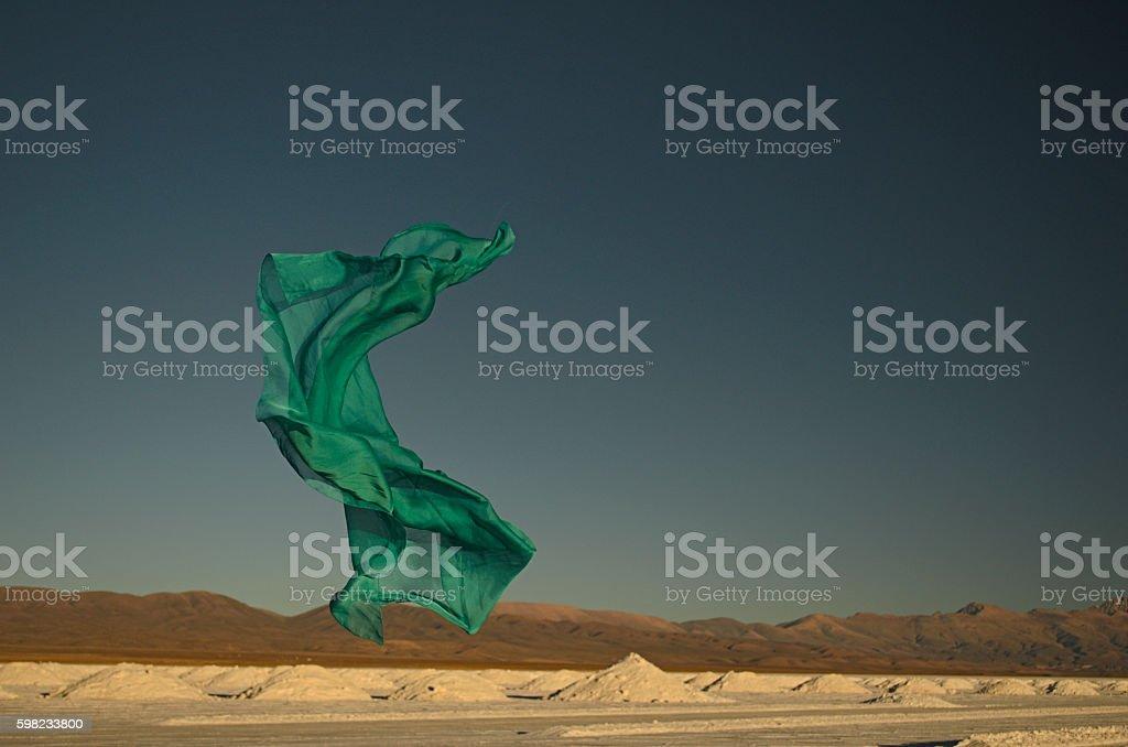 Green scarf flying foto royalty-free