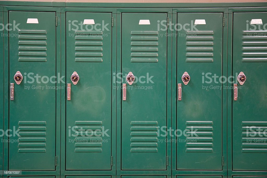 Green School Lockers with Combination Locks stock photo