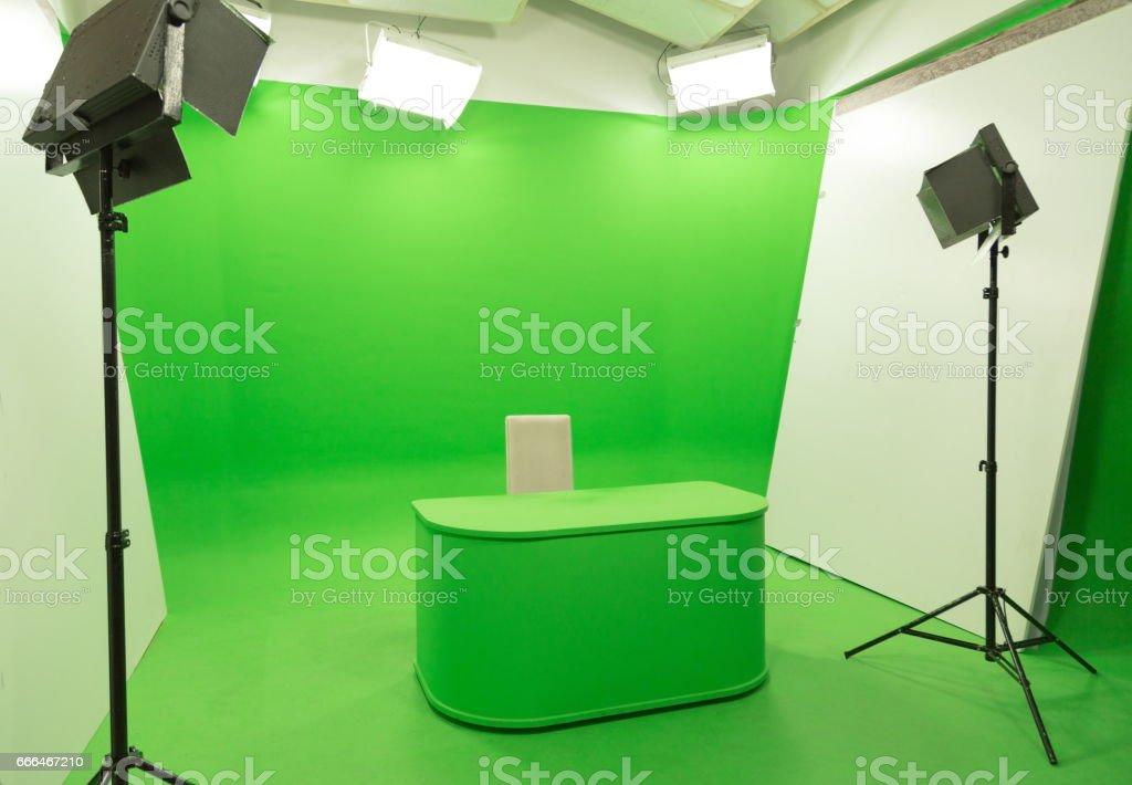 Green Screen Chroma Key Background Modern Tv Studio Setup Foto Royalty Free