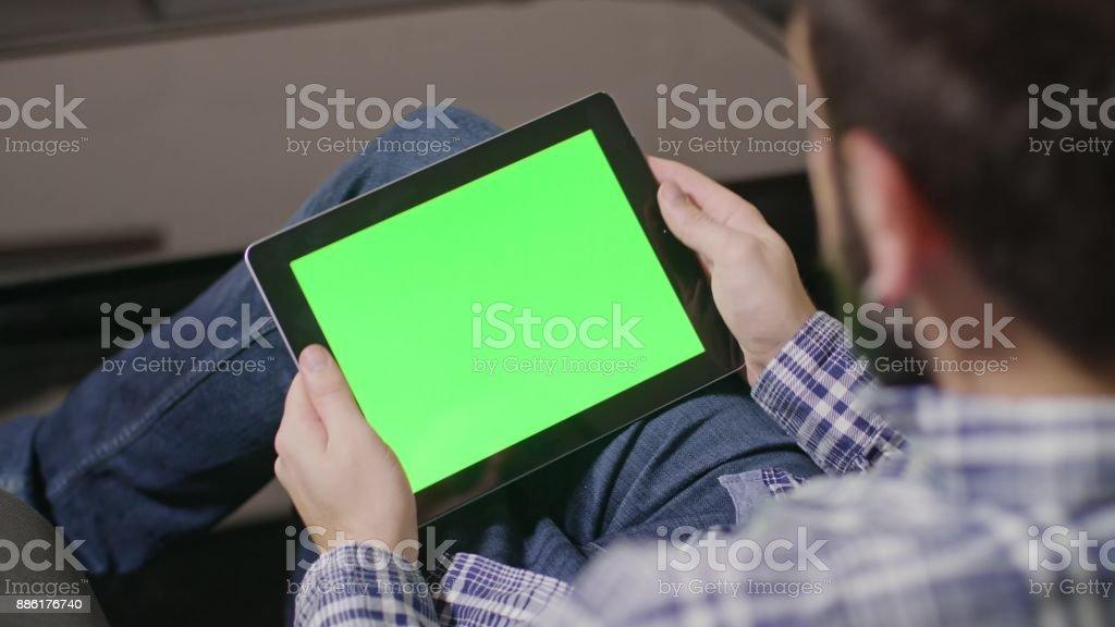 Green Screen Digital Tablet PC Man stock photo