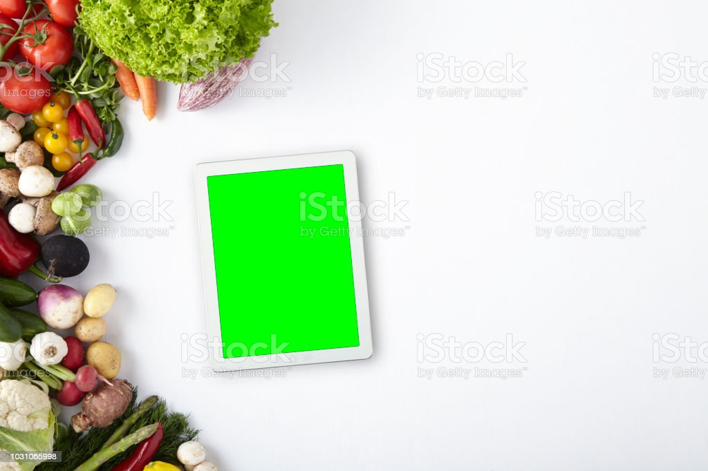 Green Screen Digital Tablet With Vegetables Frame Cut Out Screen ...