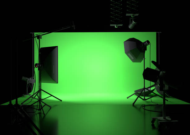 Green Screen Empty Studio Background stock photo
