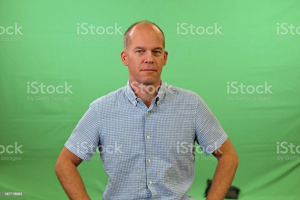 Green screen man stock photo