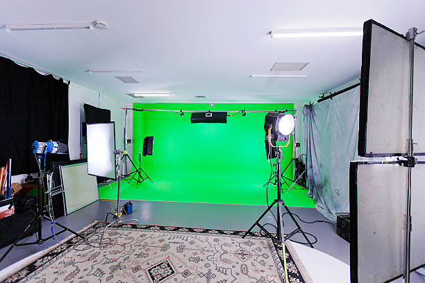 green screen studio - green screen background stock photos and pictures