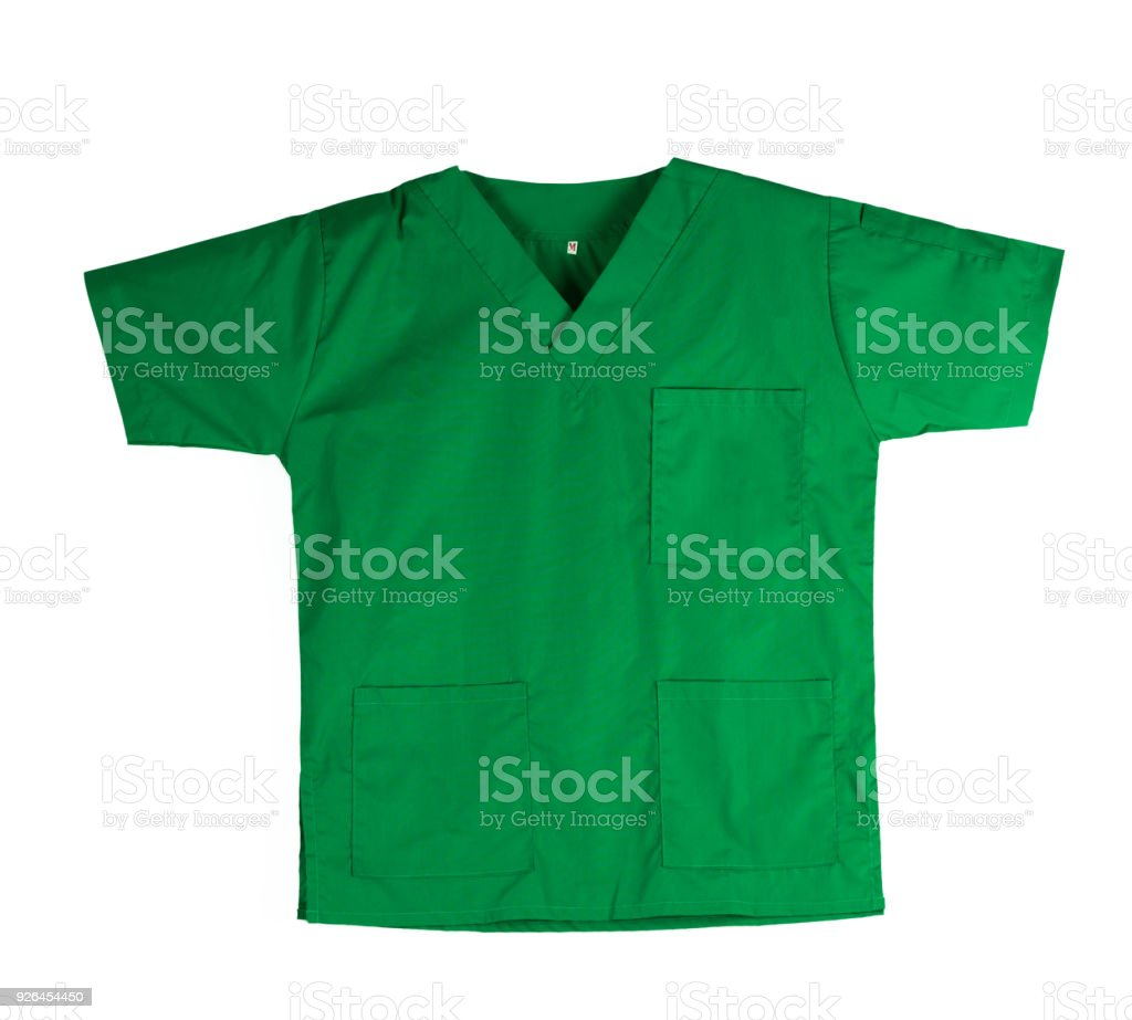 Green scrubs uniform isolated on white background with copy space. Green shirt and for veterinarian, doctor or nurse stock photo
