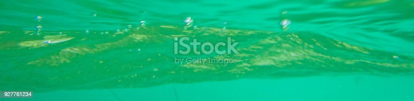 Abstract underwater shot of the Caribbean sea toned green.