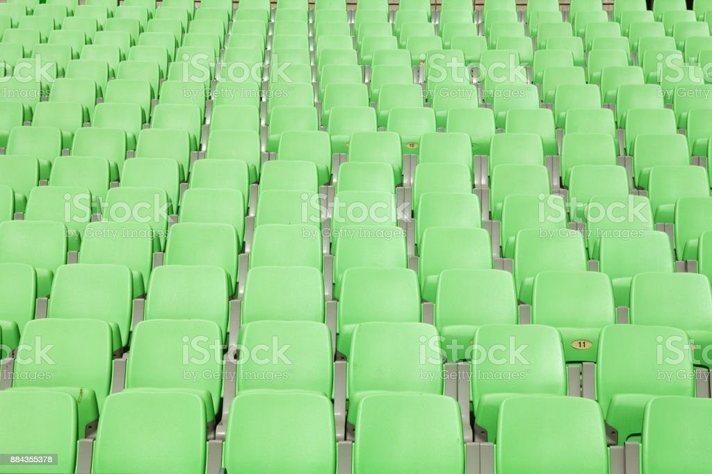 Green Seats in the stadium stock photo
