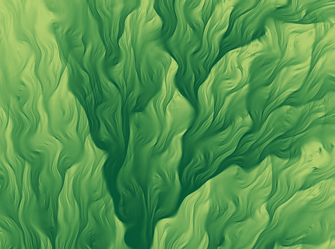 Green Seaweed Abstract Background Fractal Art Glitch Effect Leaf Pattern Close Up Soft Focus Retro Style Distorted Image Pastel Floral Pattern Spring Background Wave Striped Cute Texture Tropical Climate Pretty Tender Ethereal Computer Graphic Art