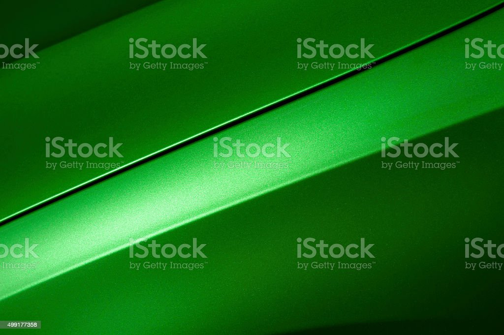 Green sedan bodywork stock photo