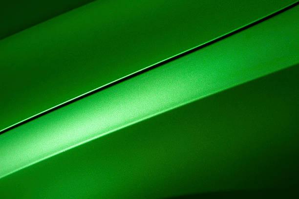 Green sedan bodywork stock photo