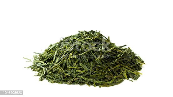 istock Green sencha tea isolated on white background 1046908620