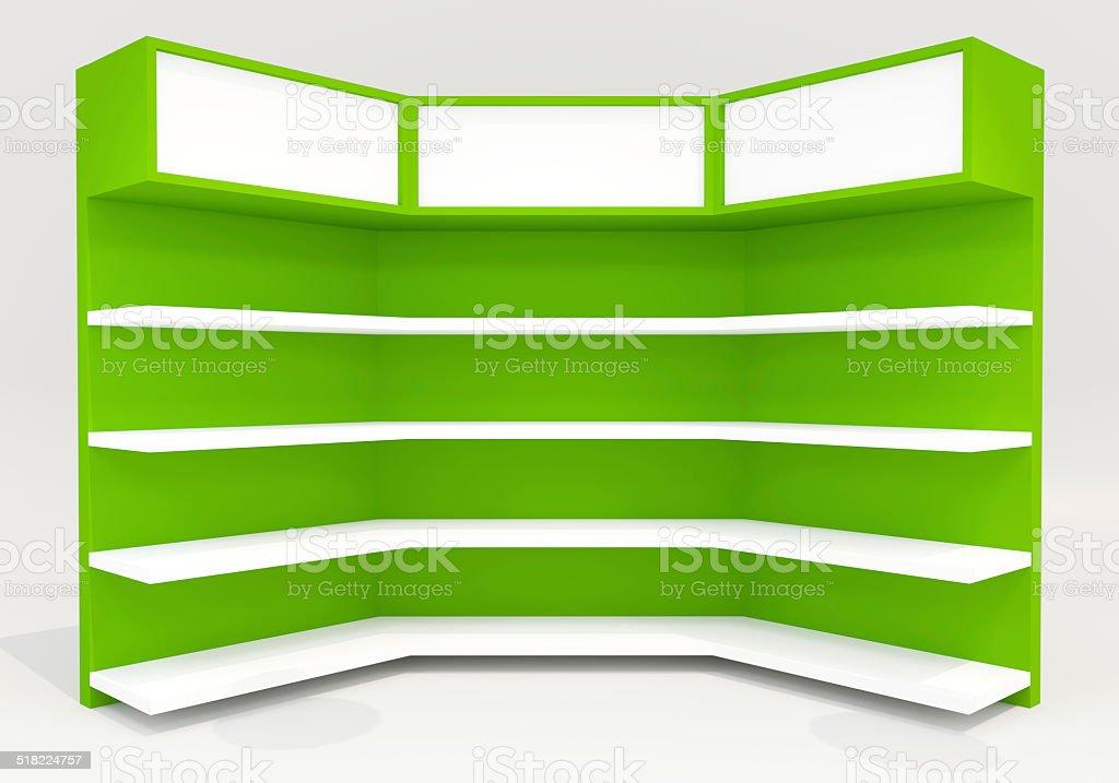 Green shelves stock photo