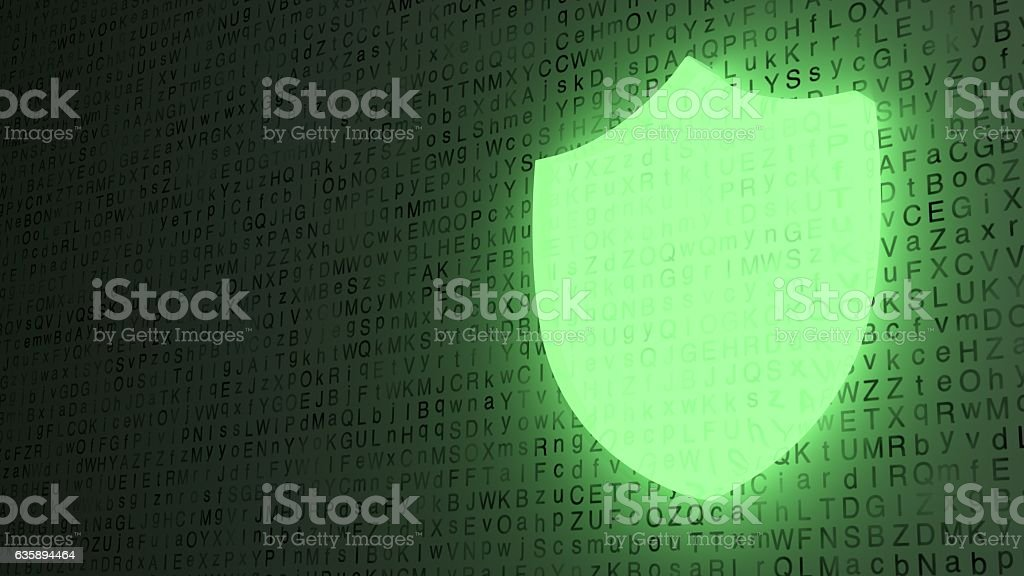 Green shield glowing on letter background stock photo