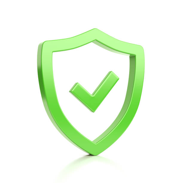 Green Shield Shape with Tick Symbol on White Green Outline Shield Shape with Tick Symbol on White Background 3D Illustration shielding stock pictures, royalty-free photos & images