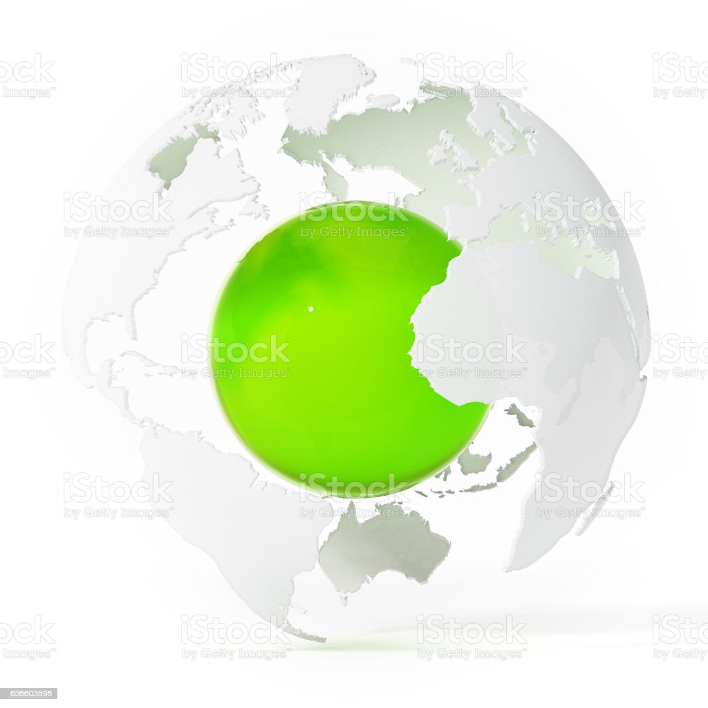 Green shiny core in the middle of white globe vector art illustration