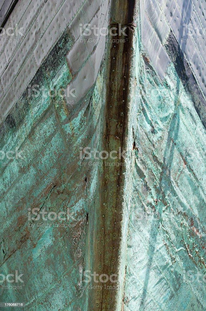 Green ships bow stock photo