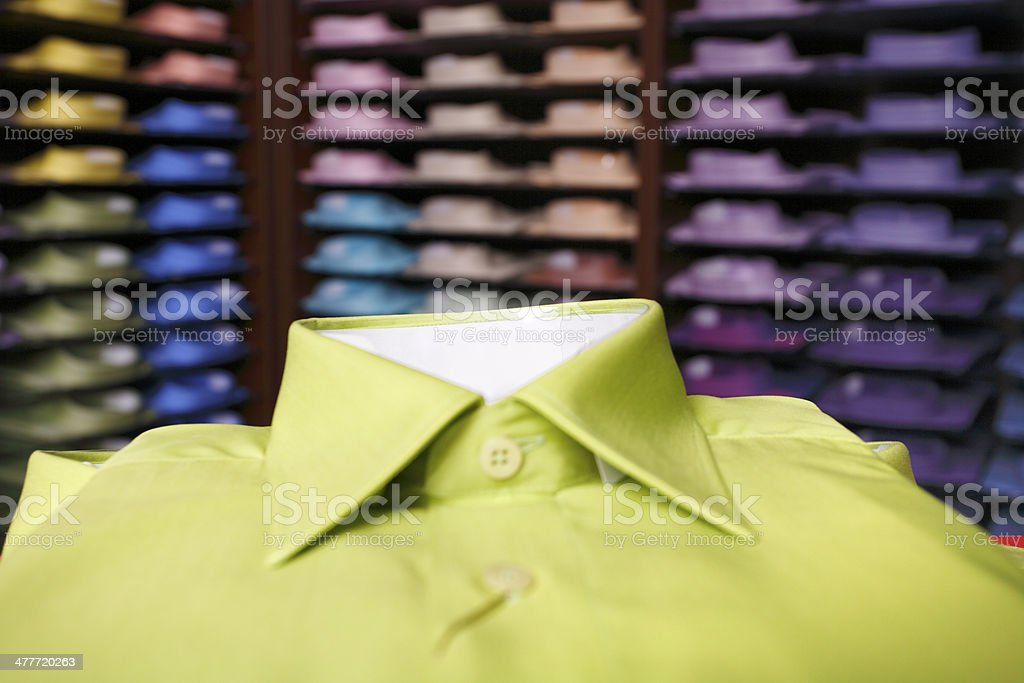 Green shirts in a store royalty-free stock photo