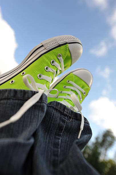 Green shoes 2 stock photo