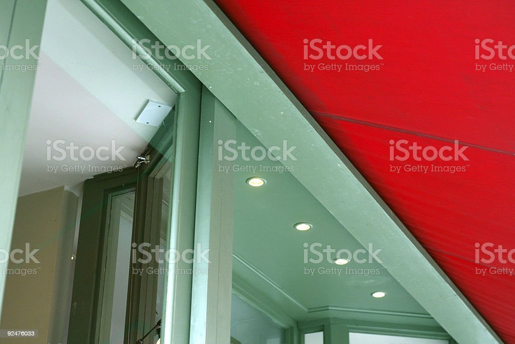Green Shop Front with Red Blind royalty-free stock photo