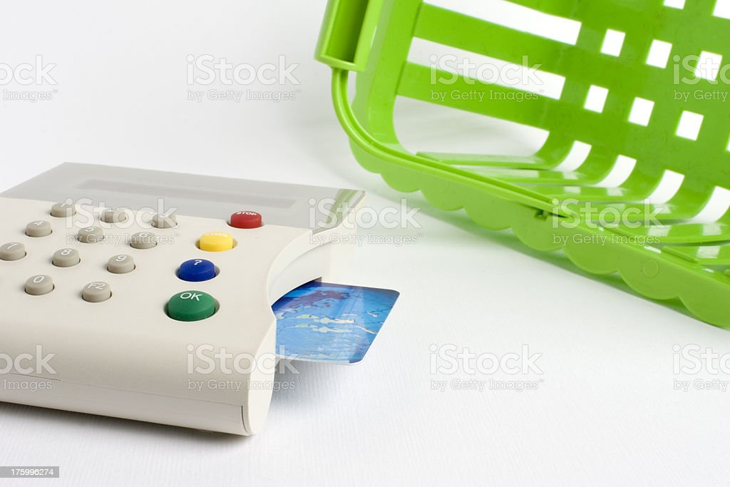 Green shopping basket and credit card royalty-free stock photo