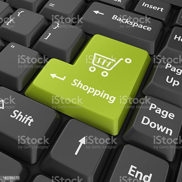Green Shopping Button Stock Photo - Download Image Now
