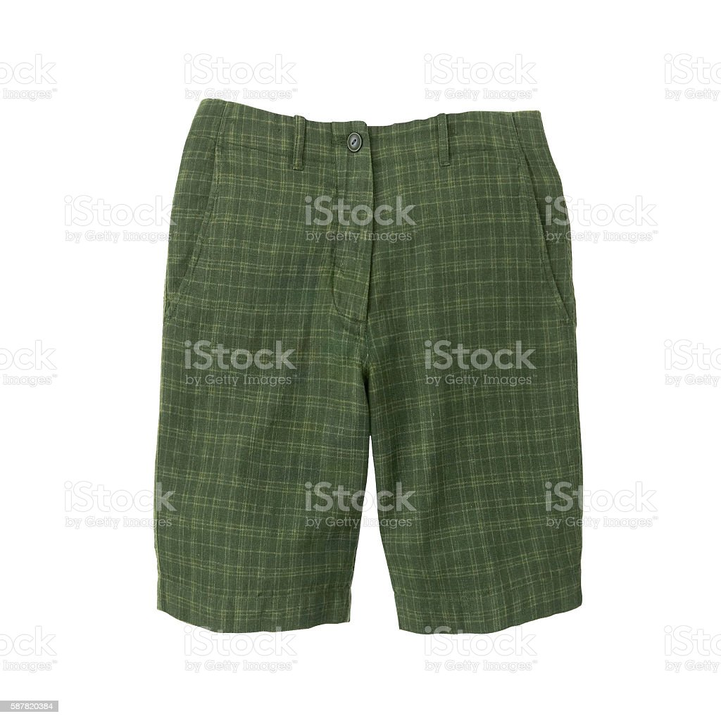 Green shorts isolated stock photo