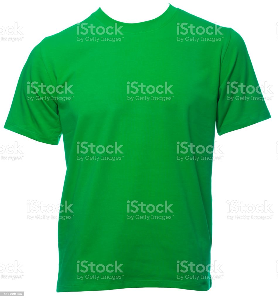 Green shortsleeve cotton tshirt on a mannequin isolated stock photo