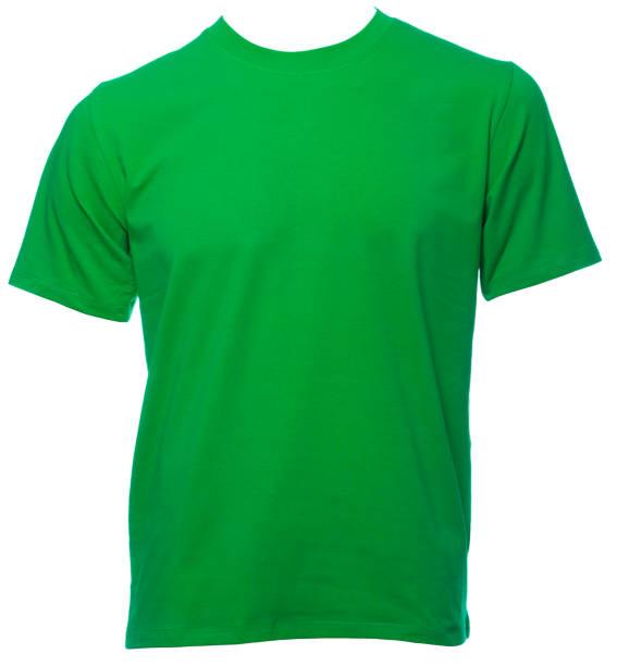 groene shortsleeve katoenen tshirt op een mannequin geïsoleerd - korte mouwen stockfoto's en -beelden