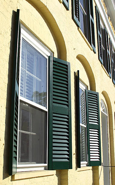 green shutters stock photo